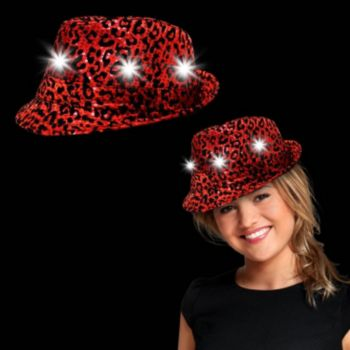 Red Leopard Print Sequin Light Up Fedora