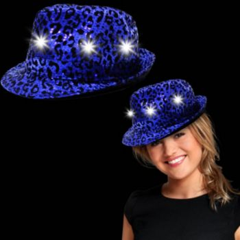 Blue Leopard Print Sequin Light Up Fedora