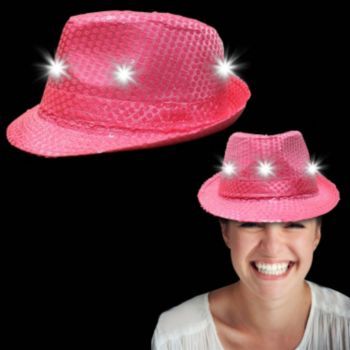 Neon Pink Light Up Sequin Fedora