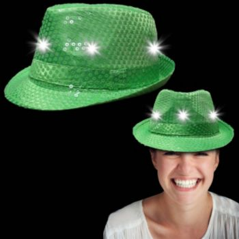 Neon Dark Green Light Up Sequin Fedora