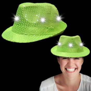Neon Light Green Light Up Sequin Fedora