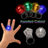 Clear Diamond Assorted Color LED Rings- 12 Pack