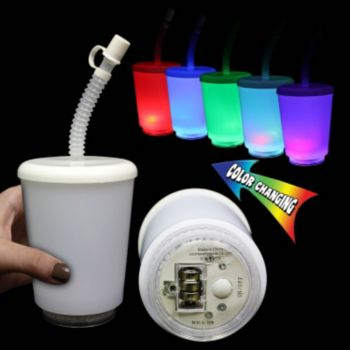 White LED 12 Ounce Cup with Cover and Straw