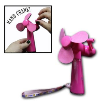 Pink Plastic Hand Crank Fan with Foam Blades