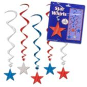 Red, Silver and Blue Star Swirls-5 Pack