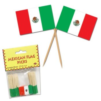 Mexican Flag Garnish Picks, 50 Pack
