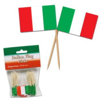 Italian Flag Garnish Picks, 50 Pack