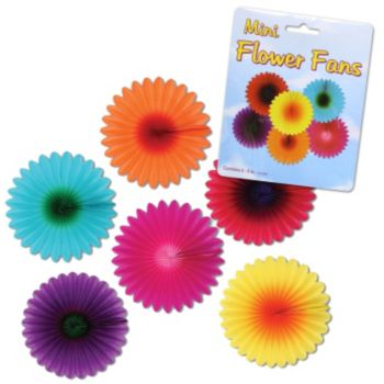 Mini Flower Fan Decorations, 6 Pack