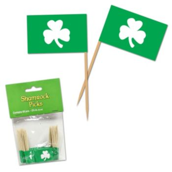 Shamrock Garnish Picks, 50 Pack
