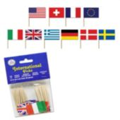 International Flag Garnish Picks, 50 Pack