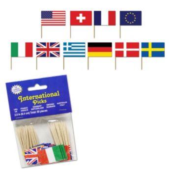 International Flag Garnish Picks, 50 Pack