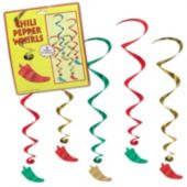 Chili Pepper Whirl Decorations-5 Pack