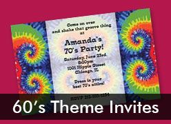 Personalized 60's Theme Invitations