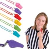 Colorful Plastic Whistles-12 Per Pack