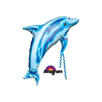 Blue Dolphin Metallic Balloon - 37 Inch