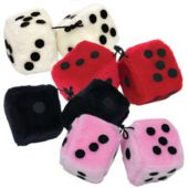 FUZZY DICE 3'' ASSORTED COLORS
