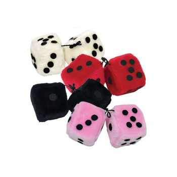 "FUZZY DICE   3"" ASSORTED COLORS"