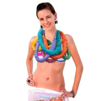 Assorted Color Plastic Leis - 36 Inch, 12 Pack, 2 Inch Around