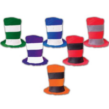 Assorted Color Stove Top Hats - 12 Pack