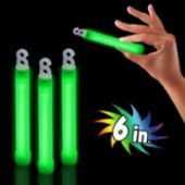 "Premium Green 6"" Glow Sticks - 25 Pack"
