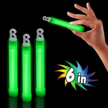 Premium Green Glow Sticks - 6 Inch, 25 Pack
