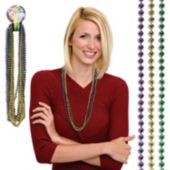 Purple, Green, And Gold Bead Necklaces - 33 Inch, 12 Pack