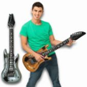 Gold And Silver Inflatable Guitars - 40 Inch, 12 Pack