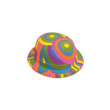 Rainbow Plastic Derby Hats - 12 Pack