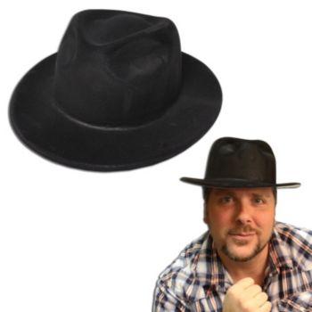 Black Velour Gangster Hat - 12 Pack