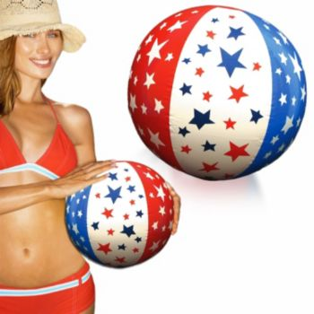 Inflatable Patriotic Stars Beach Balls - 16 Inch, 12 Pack