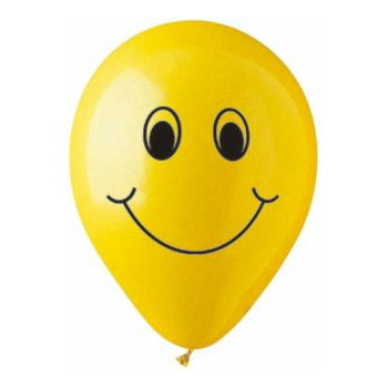 Smiley Face Latex Balloons - 12 Inch, 25 Pack