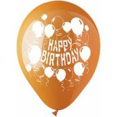 "Orange Happy Birthday 12"" Balloon - 50 Per Unit"