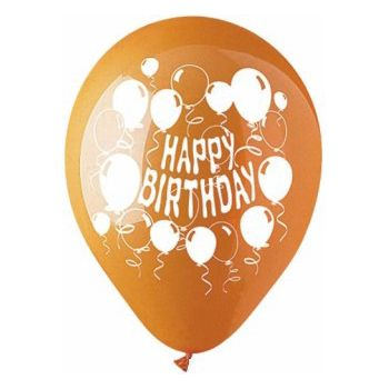 Orange Happy Birthday Balloon - 12 Inch, 50 Pack