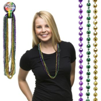 Mardi Gras Faceted Bead Necklaces - 33 Inch, 12 Pack