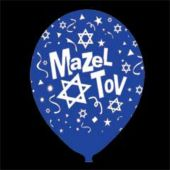 "Blue Mazel Tov Latex 14"" Balloons - 25 Per Unit"