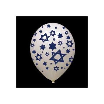White Star of David Latex Balloons - 14 Inch, 25 Pack