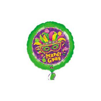 Mardi Gras Masquerade Metallic Balloon - 18 Inch