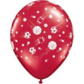 "Assorted Color Sports Logo Latex 11"" Balloons -100 Per Unit"