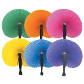 "Solid Color 10"" x 9"" Paper Hand Fans - 12 Pack"