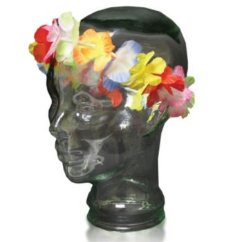 Jumbo Silk Flower Lei Headbands - 21 Inch, 12 Pack