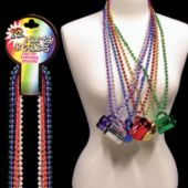 Beer Mug Metallic Bead Necklaces 33 Inch Long