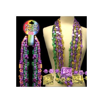 Cards and Dice Bead Necklaces - 48 Inch, 12 Pack