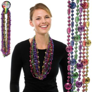 Smiley Face Bead Necklaces - 33 Inch, 12 Pack