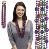 Peace Sign Bead Necklaces - 33 Inch, 12 Pack