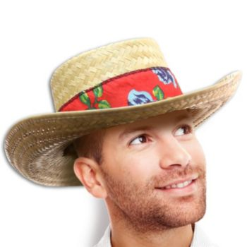 STRAW SHARK HATS   WITH FLORAL BAND