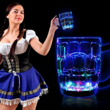 Flashing Multi-Color LED Beer Mug - 16 Ounce