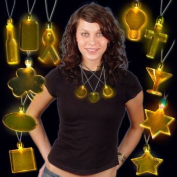 LED Amber Pendant Necklaces