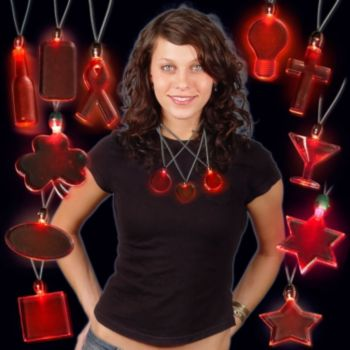 LED Red Pendant Necklaces