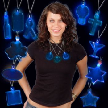LED Blue Pendant Necklaces