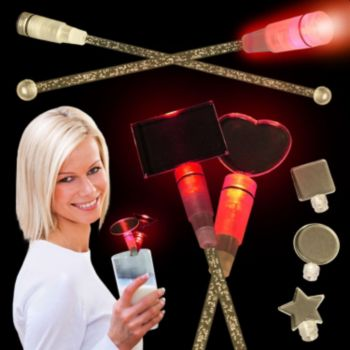 Red LED Cocktail Stirrers - 9 Inch, 12 Pack